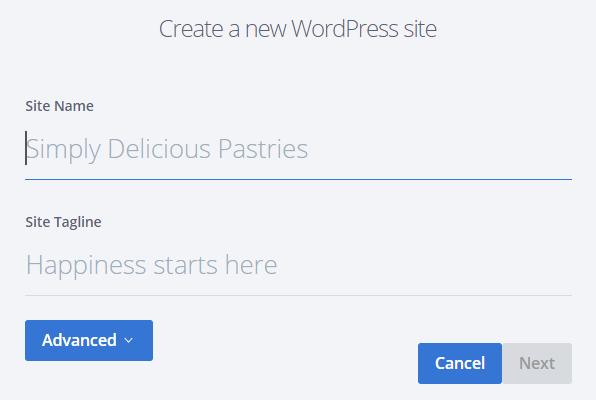 Bluehost Create New WordPress Site