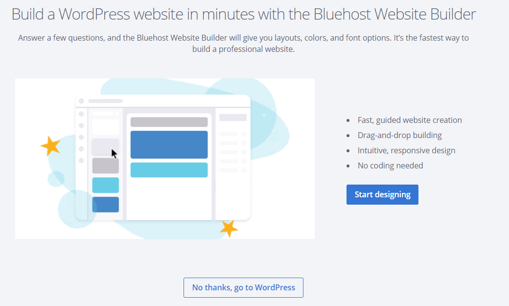 Bluehost Website Builder or WordPress