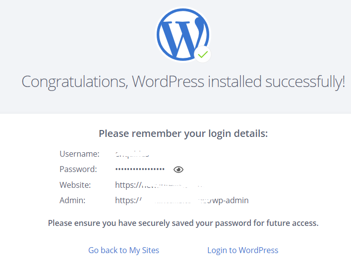 Bluehost WordPress Successfully Installed